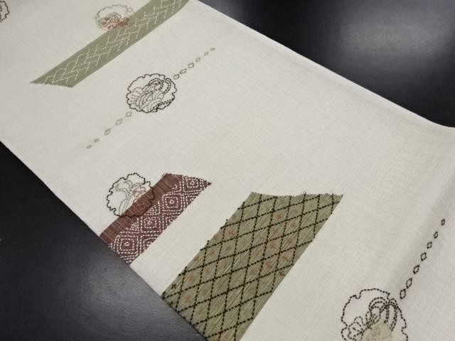 【IDN】 未使用品 すくい織刺子雪輪に松梅・花七宝模様袋帯(未仕立て)【リサイクル】【着】