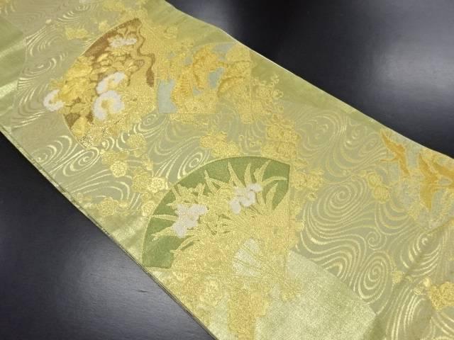 【IDN】 本金箔扇面に菊・菖蒲模様織り出し袋帯【リサイクル】【中古】【着】
