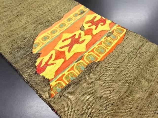 【IDN】 手織り真綿紬絣に更紗模様織り出し名古屋帯【リサイクル】【中古】【着】