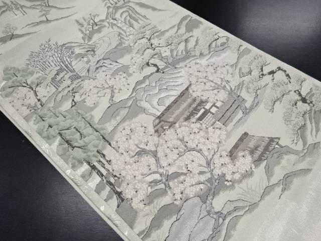 【IDN】 銀糸梅見月之図織り出し袋帯【リサイクル】【中古】【着】