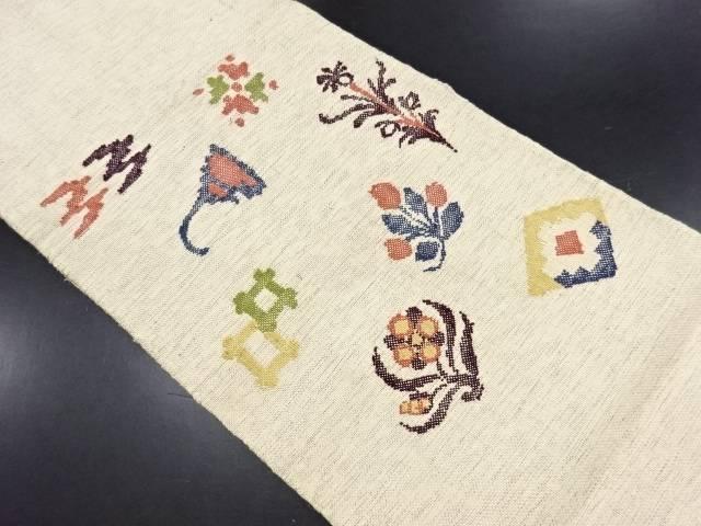 【IDN】 手織り真綿紬花に絣柄織り出し名古屋帯【リサイクル】【中古】【着】