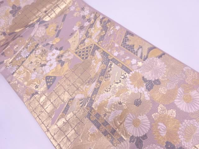 【IDN】 純金箔蒔絵書院文織出し袋帯【リサイクル】【中古】【着】