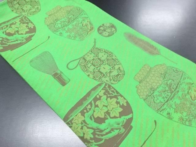 【IDN】 茶道具模様織り出し全通袋帯【リサイクル】【中古】【着】