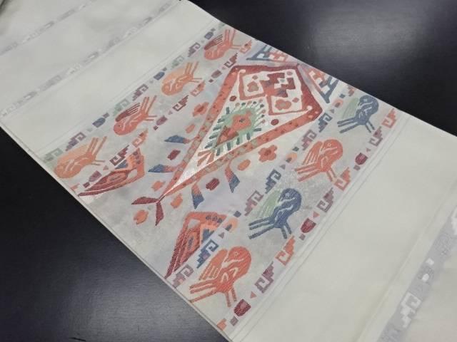 【IDN】 横段に花鳥更紗模様織り出し袋帯【リサイクル】【中古】【着】