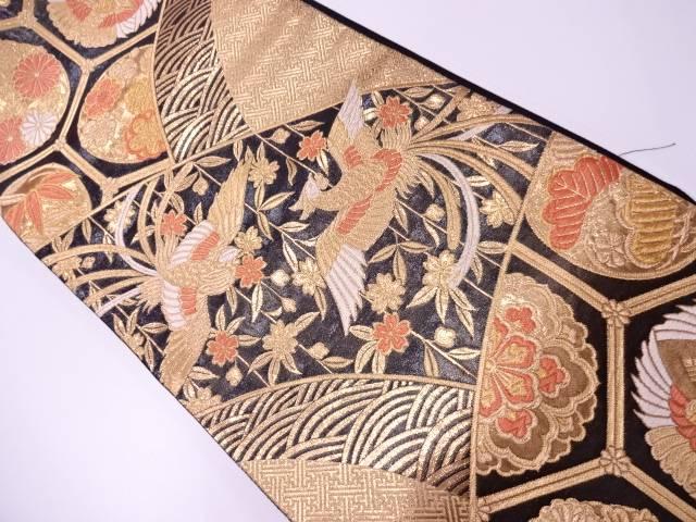 【IDN】 鳳凰に桜模様織出し袋帯【リサイクル】【中古】【着】