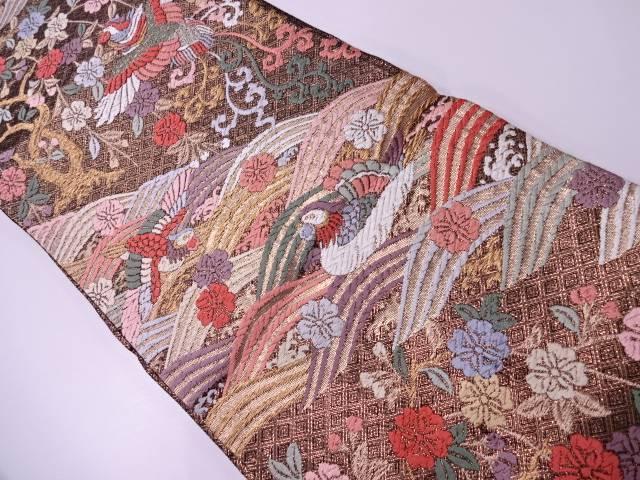 【IDN】 唐織波に花鳥模様織出し袋帯【リサイクル】【中古】【着】