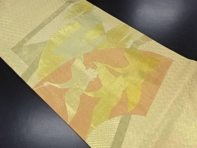 【IDN】 佐賀錦?風に地紙・鶴模様織り出しリバーシブル袋帯【リサイクル】【中古】【着】