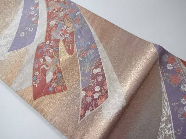 【IDN】 袋帯 熨斗に鳳凰と古典草花文様【リサイクル】【中古】【着】