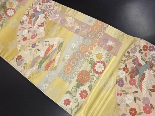 【IDN】 本金 地紙に花鳥模様織り出し袋帯【リサイクル】【中古】【着】
