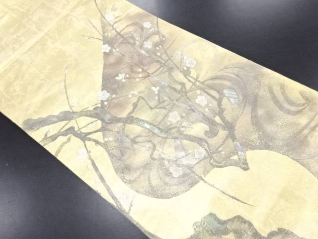 【IDN】 引箔螺鈿 白梅図織り出し袋帯【リサイクル】【中古】【着】