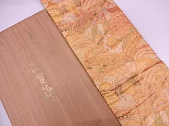 【IDN】 佐賀錦草花に青海波模様織出し袋帯【リサイクル】【中古】【着】