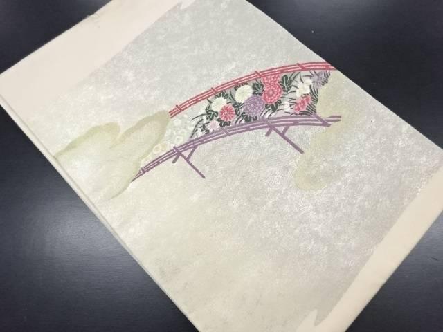 【IDN】 未使用品 橋に梅・菊・菖蒲模様織り出し名古屋帯【リサイクル】【着】