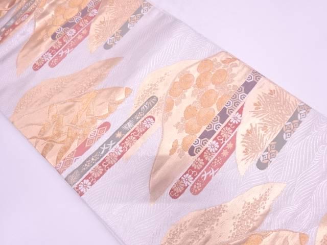 【IDN】 山並に花鳥・古典柄模様織出し袋帯【リサイクル】【中古】【着】