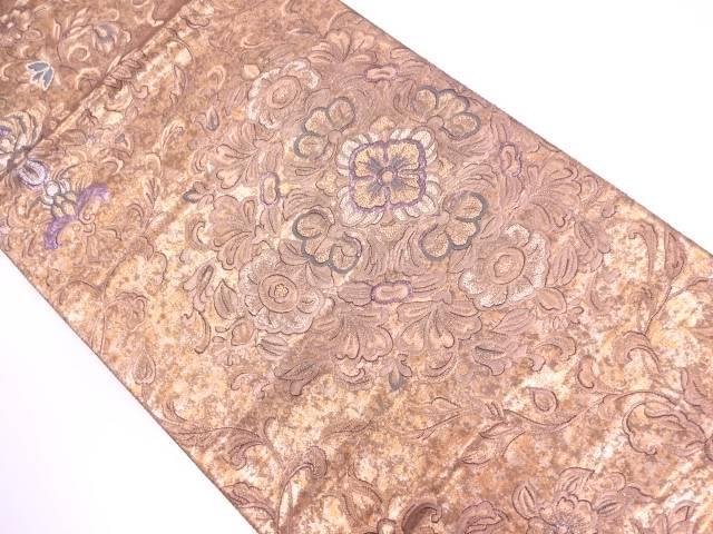 【IDN】 未使用品 引き箔華紋模様織出し袋帯【リサイクル】【着】