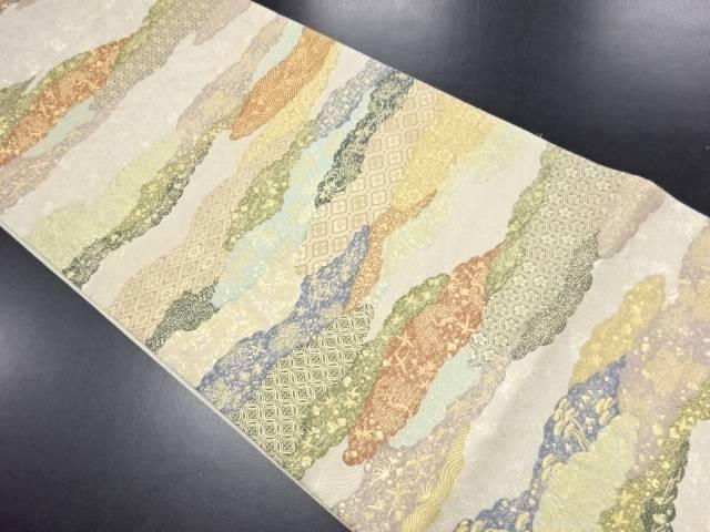 【IDN】 雲取りに花古典柄織り出し袋帯【リサイクル】【中古】【着】