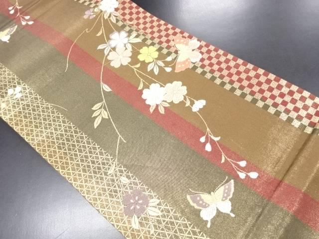 【IDN】 金糸枝垂れ桜に蝶模様織り出し袋帯【リサイクル】【中古】【着】