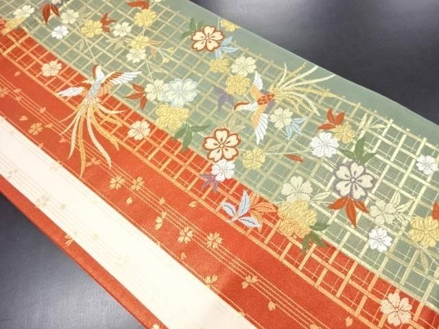 【IDN】 枝垂れ桜に尾長鳥模様織出袋帯【リサイクル】【中古】【着】