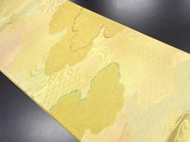【IDN】 金糸雲取に古典柄流水織り出し袋帯【リサイクル】【中古】【着】