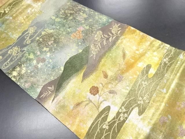 【IDN】 本金引箔遠山に花模様織り出し袋帯【リサイクル】【中古】【着】
