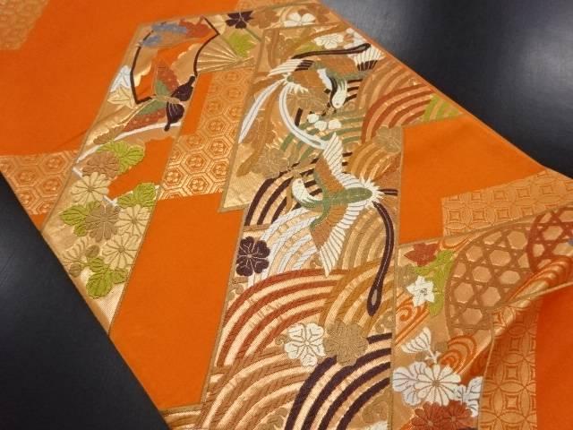 【IDN】 未使用品 幾何学に尾長鳥・波・蛇籠・花模様織り出し袋帯【リサイクル】【着】