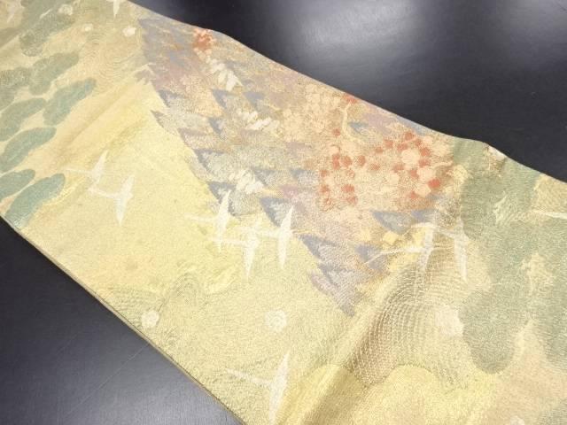 【IDN】 佐賀錦群鶴に松杉流水模様織り出し袋帯【リサイクル】【中古】【着】