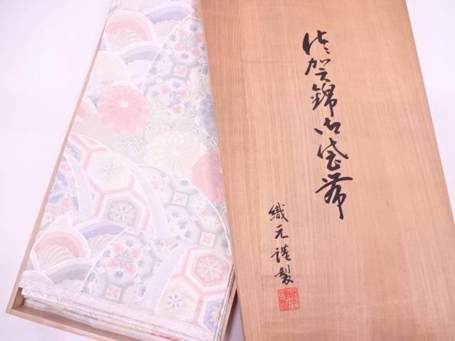 【IDN】 未使用品 佐賀錦牡丹に菊・古典柄模様織出し袋帯【リサイクル】【着】