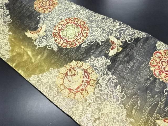 【IDN】 金糸花唐草に蝶・華紋・鳳凰模様織り出し袋帯【リサイクル】【中古】【着】
