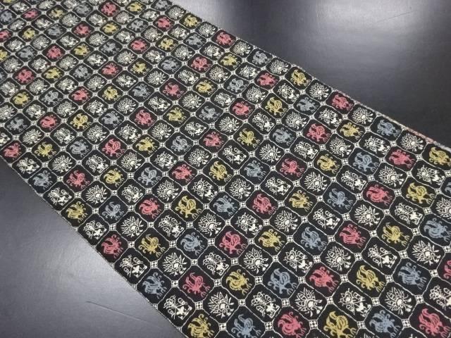 【IDN】 格子に花鳥模様織り出し名古屋帯【リサイクル】【中古】【着】