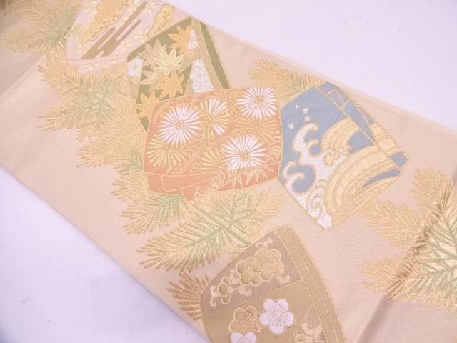 【IDN】 川島織物製 枝梅に草花・荒波模様織出し袋帯【リサイクル】【中古】【着】