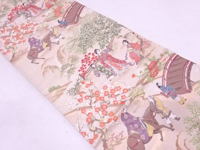 【IDN】 時代人物風景模様織出し袋帯【リサイクル】【中古】【着】
