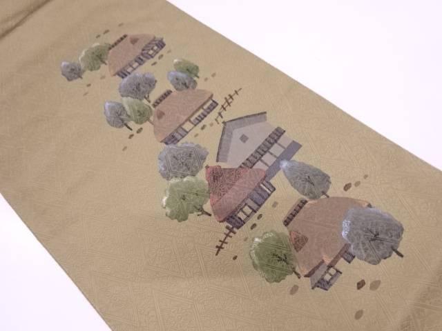 家屋風景模様袋帯【リサイクル】【中古】【着】 【IDN】