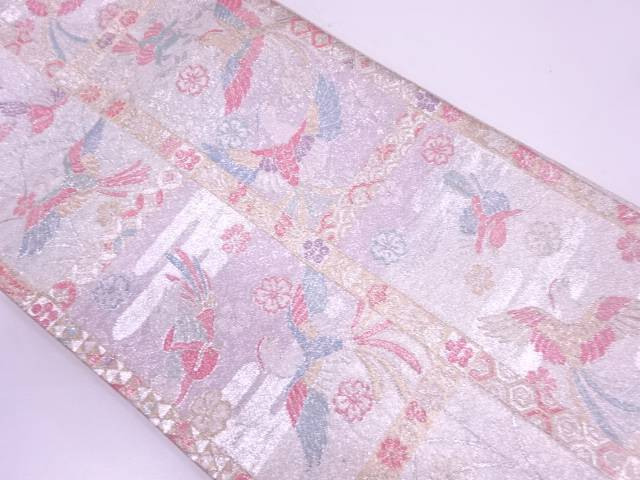 【IDN】 佐賀錦極楽鳥に草花模様織出し袋帯(材料)【アンティーク】【中古】【着】