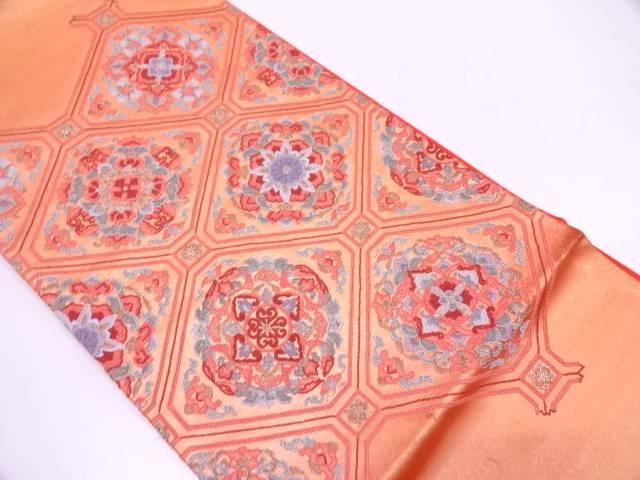 【IDN】 未使用品 相良刺繍蜀江文に花模様袋帯【リサイクル】【着】