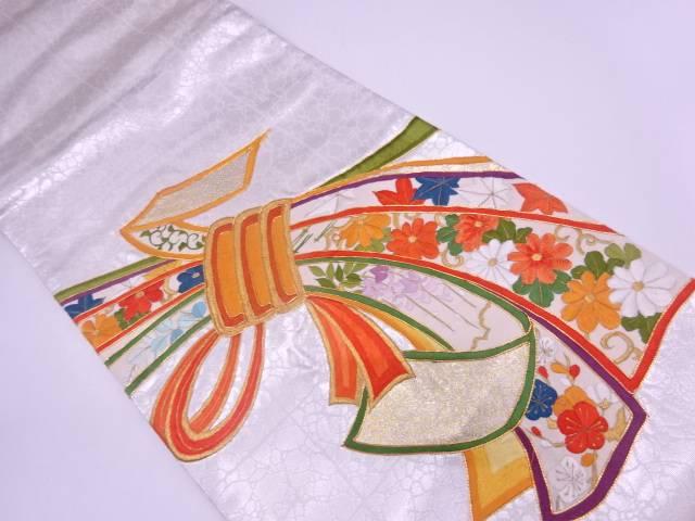 【IDN】 束ね熨斗に草花模様刺繍袋帯【リサイクル】【中古】【着】