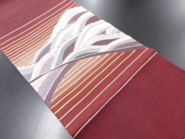 【IDN】 未使用品 波に横段模様織り出し袋帯【リサイクル】【着】
