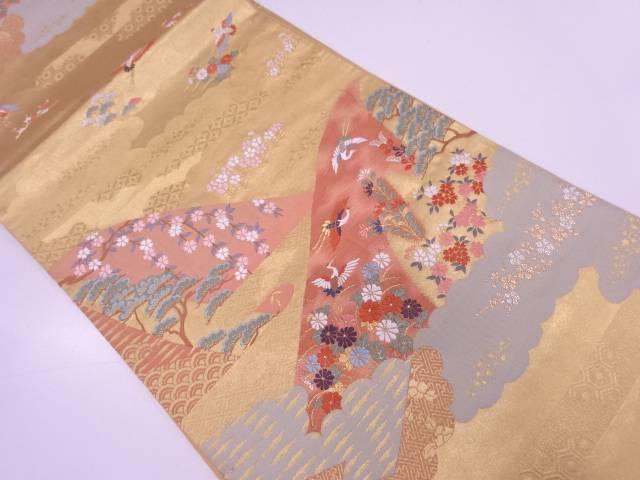 【IDN】 山並みに花鳥模様織出し袋帯【リサイクル】【中古】【着】