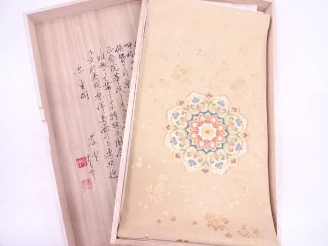 【IDN】 明綴れ華紋に色紙散らし模様織出し袋帯【リサイクル】【中古】【着】
