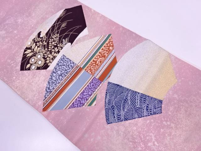 【IDN】 引箔地紙に草花模様織出し袋帯【リサイクル】【中古】【着】