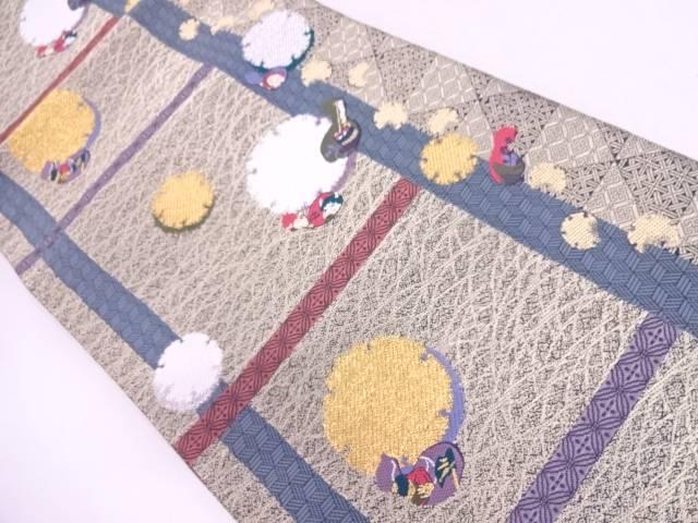 【IDN】 変わり格子に雪輪・瓢箪模様織出し袋帯【リサイクル】【中古】【着】