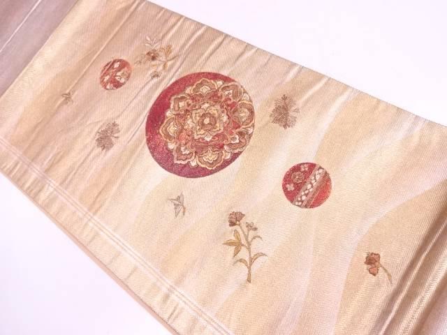 【IDN】 引箔丸文に華紋模様刺繍袋帯【リサイクル】【中古】【着】