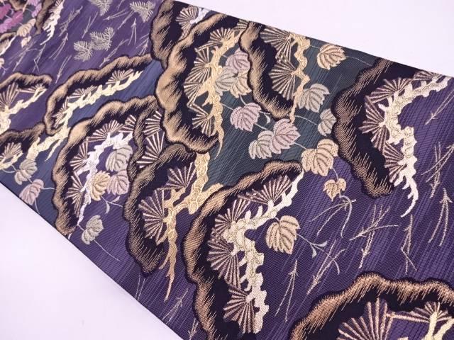 【IDN】 じゅらく帝王紫笠松に松葉模様織出し袋帯【リサイクル】【中古】【着】