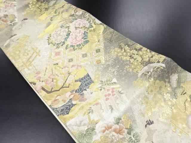 【IDN】 本金色紙に牡丹・鴛鴦・枝梅・鶴模様織り出し袋帯【リサイクル】【中古】【着】