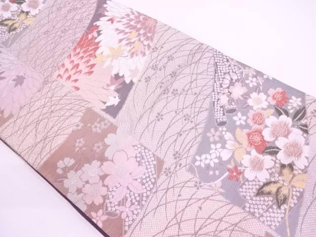 【IDN】 未使用品 草花に紅葉模様織出し袋帯【リサイクル】【着】