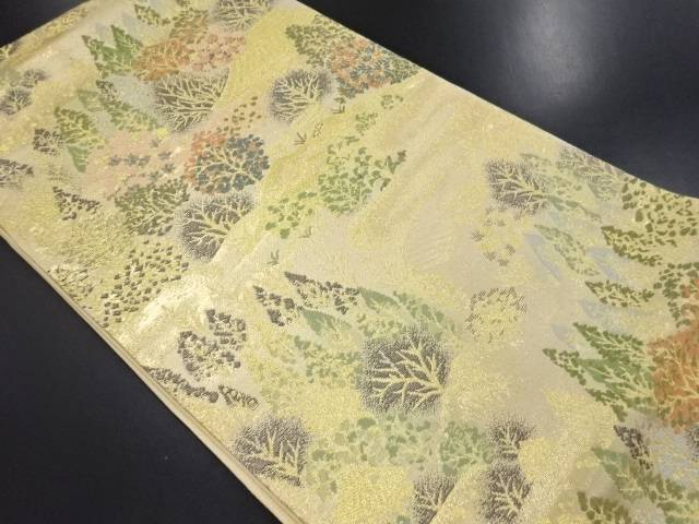 【IDN】 金糸 家屋に樹木模様織り出し袋帯【リサイクル】【中古】【着】