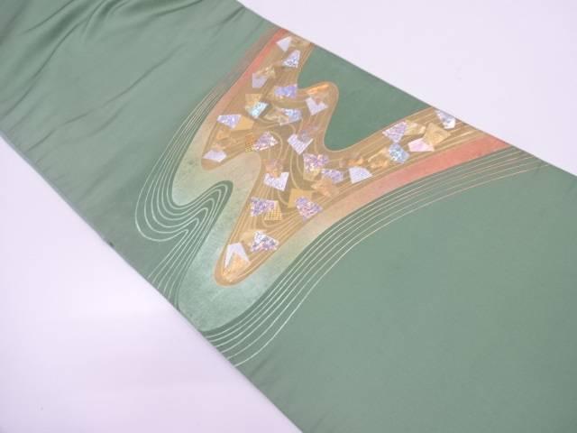 【IDN】 流水に箔散らし模様袋帯【リサイクル】【中古】【着】