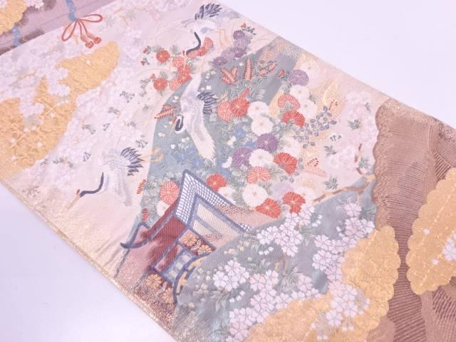 【IDN】 御所車に鶴・桜模様織出し袋帯【リサイクル】【中古】【着】