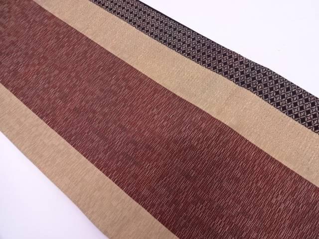 【IDN】 未使用品 縞に七宝繋ぎ模様織出し全通袋帯【リサイクル】【着】
