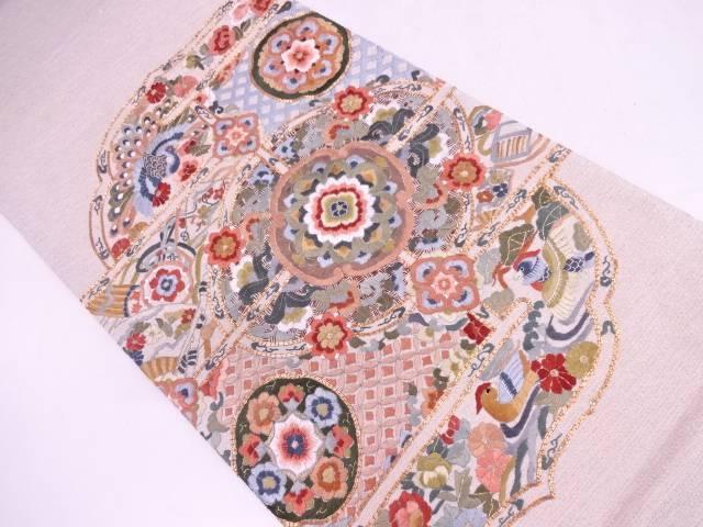 【IDN】 蘇州刺繍変わり絵皿に花鳥模様袋帯【リサイクル】【中古】【着】