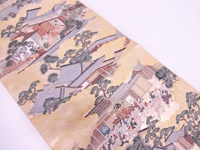 【IDN】 京洛風景模様織出し袋帯【リサイクル】【中古】【着】
