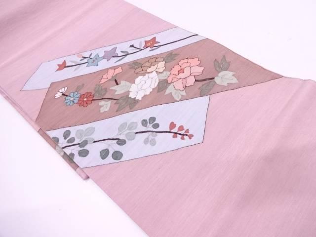 【IDN】 明綴れ牡丹に秋草模様織出し袋帯【リサイクル】【中古】【着】